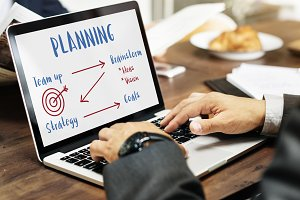 Businessman working laptop planning