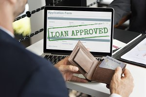 Businessman laptop application loan
