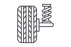 suspension, car, auto  vector line icon, sign, illustration on background, editable strokes
