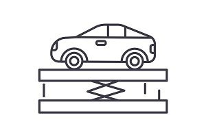 suspension,car service vector line icon, sign, illustration on background, editable strokes
