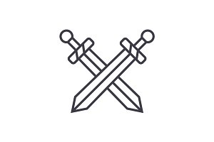 swords vector line icon, sign, illustration on background, editable strokes