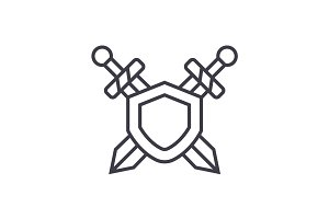 swords, protection vector line icon, sign, illustration on background, editable strokes