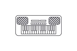 synthesizer vector line icon, sign, illustration on background, editable strokes