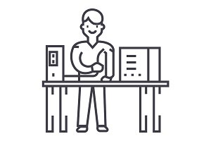 system administrator vector line icon, sign, illustration on background, editable strokes