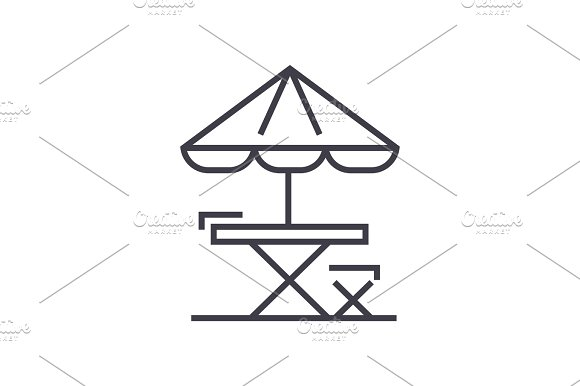 table, chair and sun umbrella vector line icon, sign, illustration on background, editable strokes