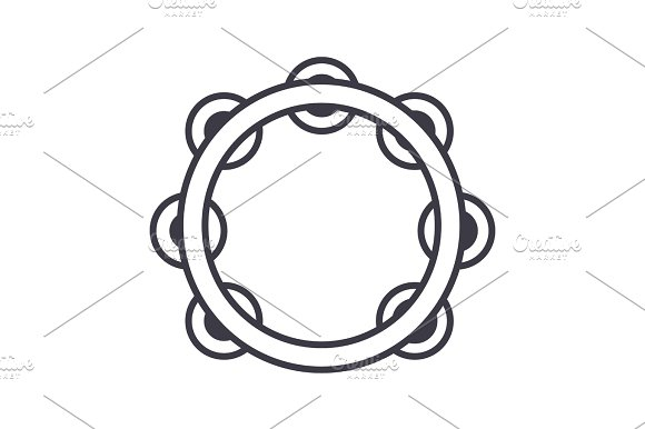 tambourine vector line icon, sign, illustration on background, editable strokes