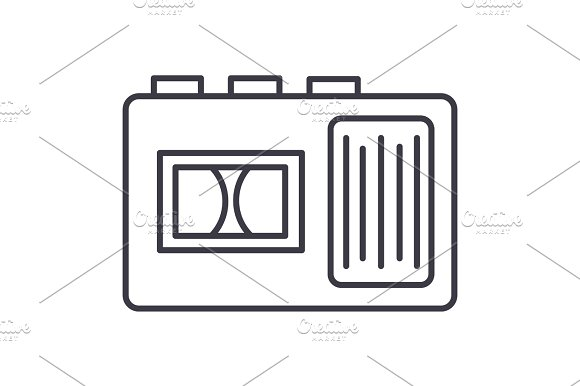 tape recorder vector line icon, sign, illustration on background, editable strokes