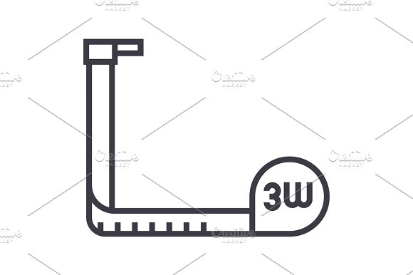 tape,measure vector line icon, sign, illustration on background, editable strokes in Objects