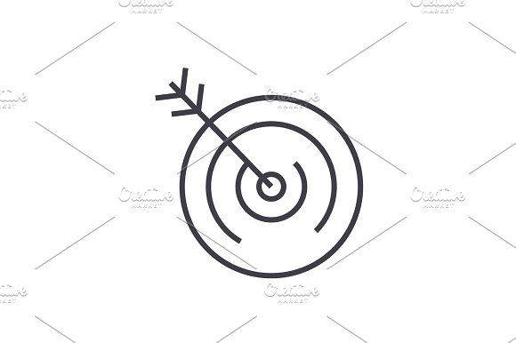 target vector line icon, sign, illustration on background, editable strokes
