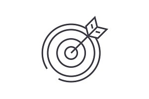 target, arrow vector line icon, sign, illustration on background, editable strokes