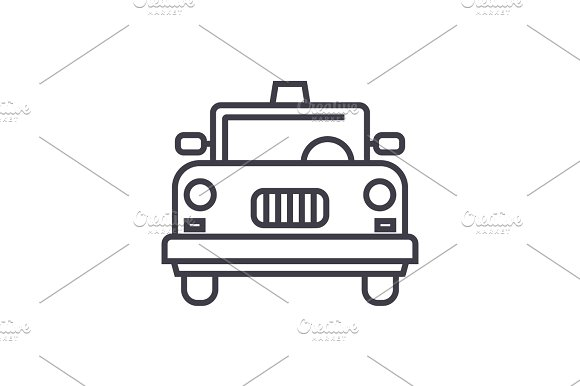taxi vector line icon, sign, illustration on background, editable strokes