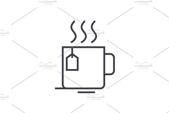 tea cup vector line icon, sign, illustration on background, editable strokes