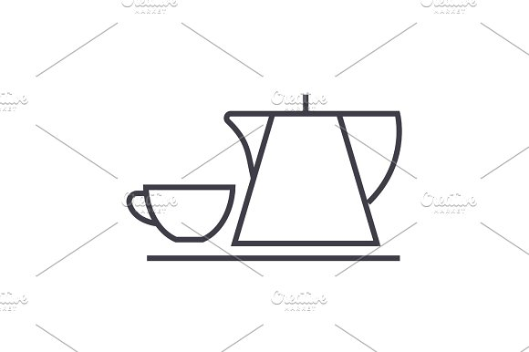 tea cup and kettle vector line icon, sign, illustration on background, editable strokes