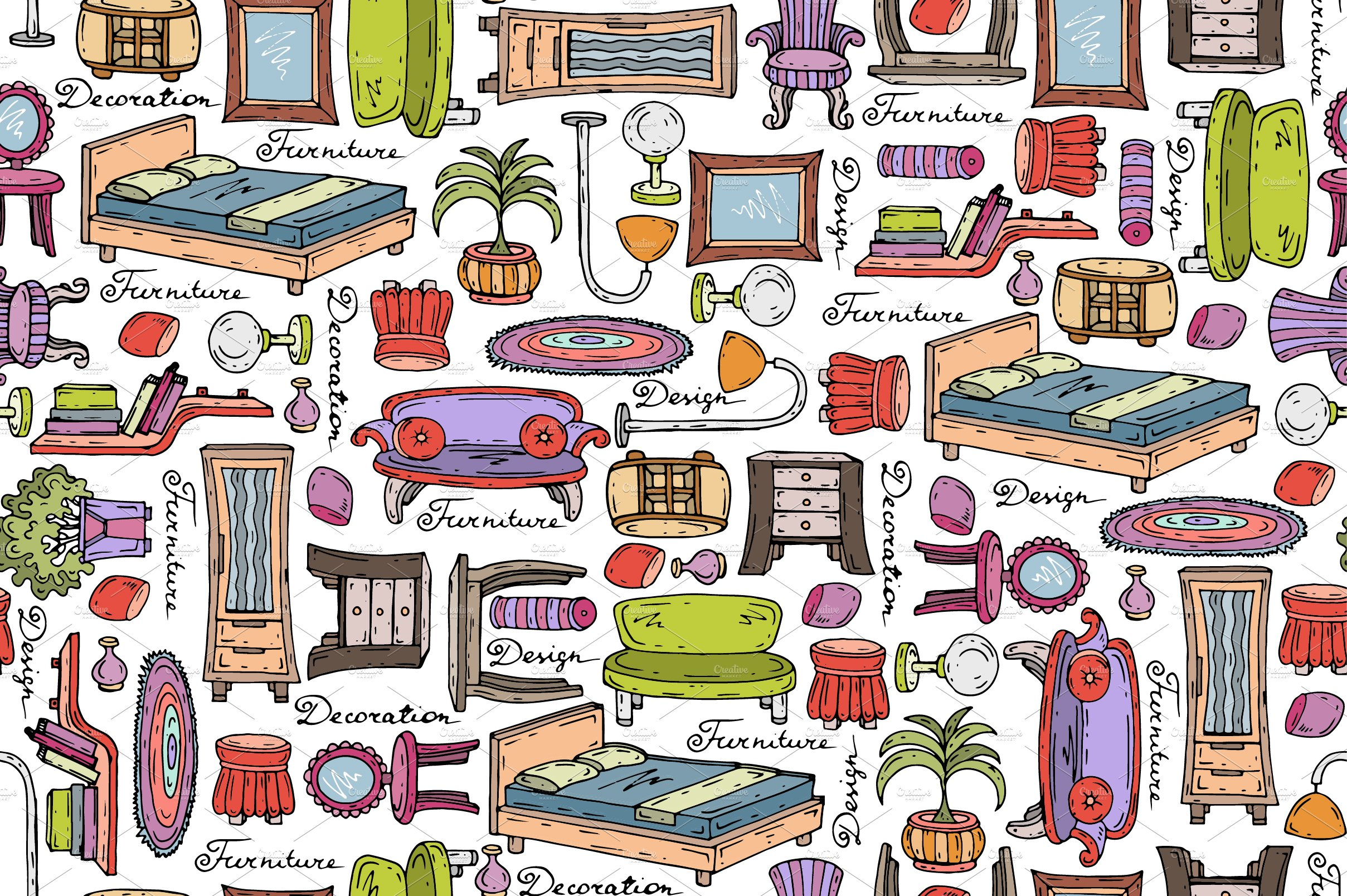 Furniture Sketches Pattern With Furniture Sketches Patterns Creative Market