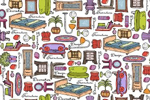 Pattern with furniture sketches