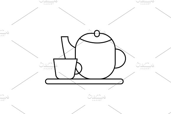 tea cup and teapot vector line icon, sign, illustration on background, editable strokes