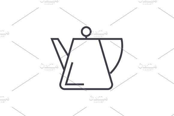 tea kettle, spot vector line icon, sign, illustration on background, editable strokes