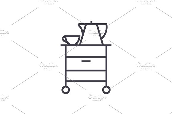 tea,cupboard vector line icon, sign, illustration on background, editable strokes in Illustrations