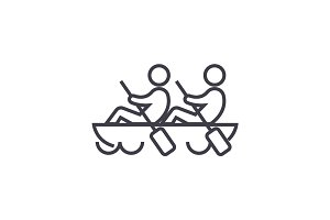team,teamwork,canoe vector line icon, sign, illustration on background, editable strokes