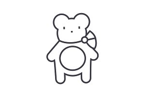 teddy bear vector line icon, sign, illustration on background, editable strokes