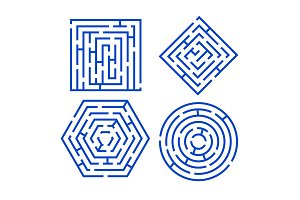 Labyrinth Set Different Shapes.