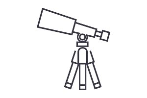 telescope,scope vector line icon, sign, illustration on background, editable strokes