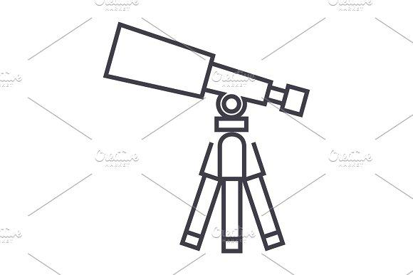 telescope,scope vector line icon, sign, illustration on background, editable strokes