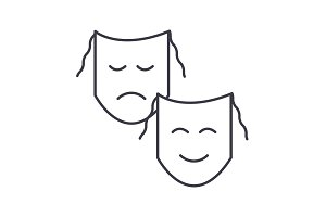 theater,masks show vector line icon, sign, illustration on background, editable strokes