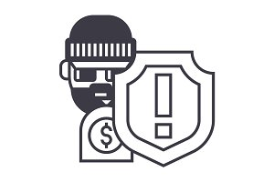 theft thievery  steal vector line icon, sign, illustration on background, editable strokes