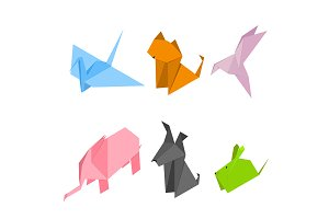 Origami Animals Set Isometric