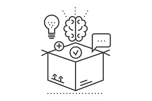 thinking outside box,idea management vector line icon, sign, illustration on background, editable strokes