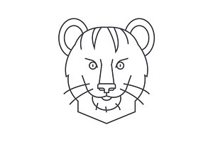 tiger vector line icon, sign, illustration on background, editable strokes
