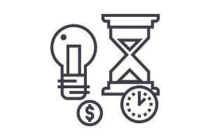 time management, hourglass, coin, timer vector line icon, sign, illustration on background, editable strokes