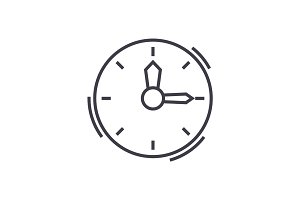time,clock vector line icon, sign, illustration on background, editable strokes