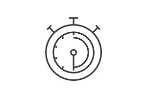 timer,stopwatch,clock vector line icon, sign, illustration on background, editable strokes