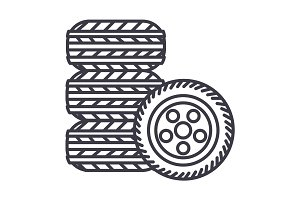 tires,tire service vector line icon, sign, illustration on background, editable strokes