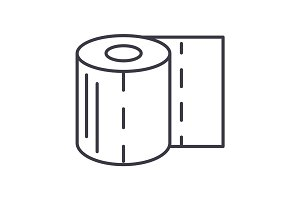 toilet paper vector line icon, sign, illustration on background, editable strokes