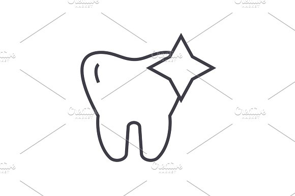 Tooth With Shine Cleaned Teeth Vector Line Icon Sign Illustration On Background Editable Strokes