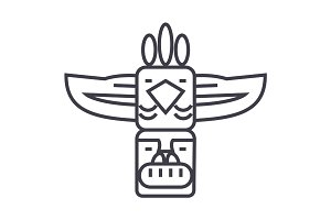 totem,native american vector line icon, sign, illustration on background, editable strokes