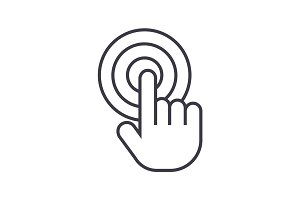 touch by finger,touchscreen vector line icon, sign, illustration on background, editable strokes