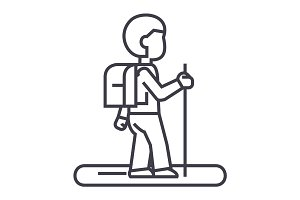 tourister vector line icon, sign, illustration on background, editable strokes