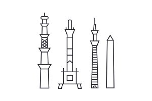 towers vector line icon, sign, illustration on background, editable strokes