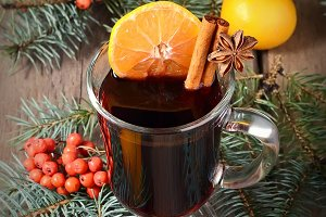 Hot mulled wine, winter drink