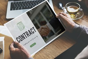 Businessman working on contract