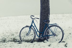Vintage bicycle, tree and snow