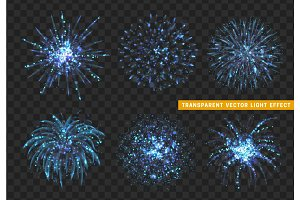 Set of Firework blue isolated. Xmas decoration. Holiday design element.
