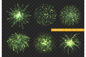 Set of Firework green isolated. Xmas decoration. Holiday design element.