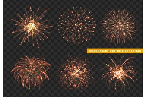 Set of Firework red isolated. Xmas decoration. Holiday design element.