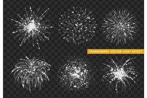 Set of Firework white isolated. Xmas decoration. Holiday design element.