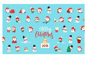 Santa Claus, collection Christmas characters in flat style